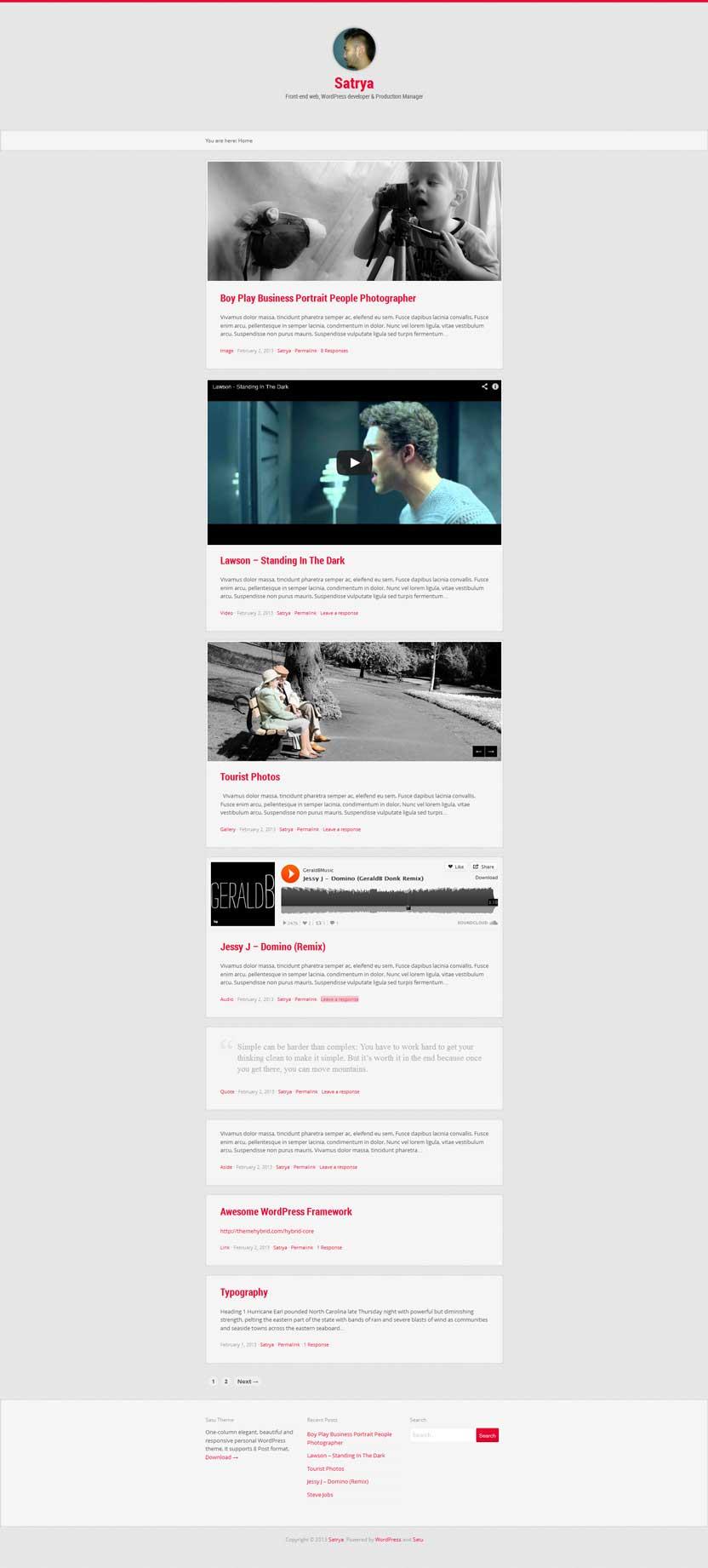 Satu Free responsive portfolio theme