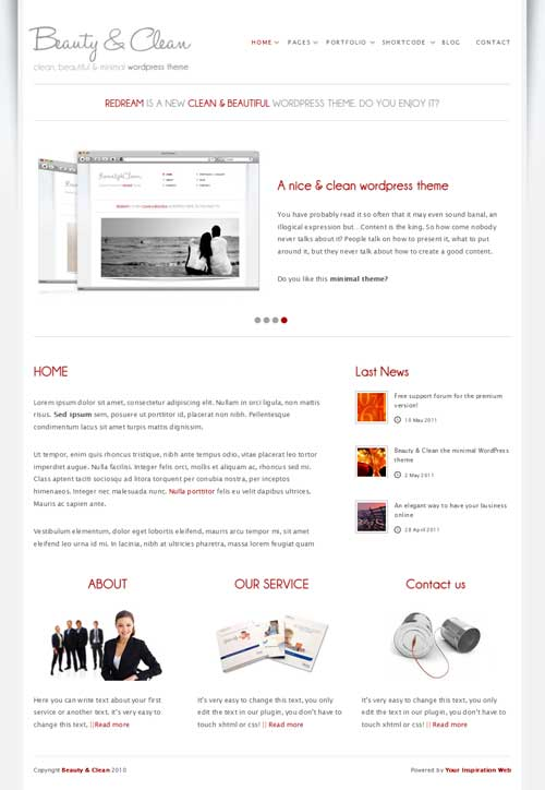 beauty and clean wordpress theme
