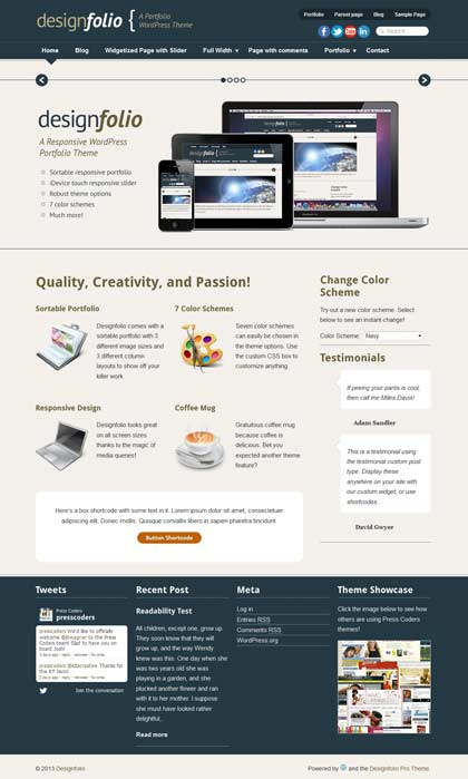 designfolio free wordpress theme
