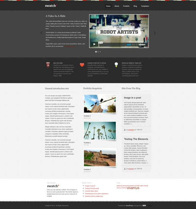swatch free portfolio theme wordpress