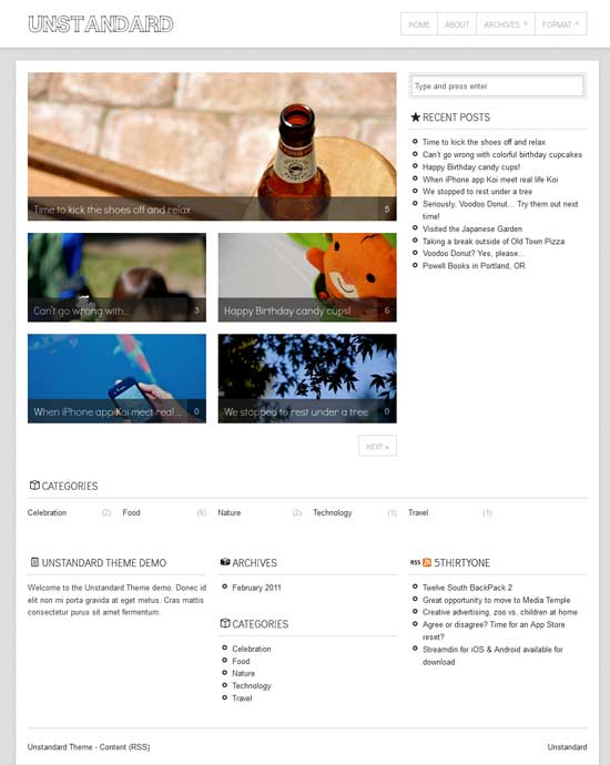 unstandard free wordpress theme