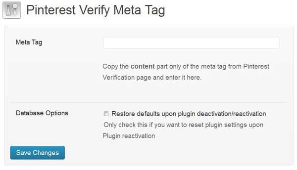 pinterest verify meta plugin