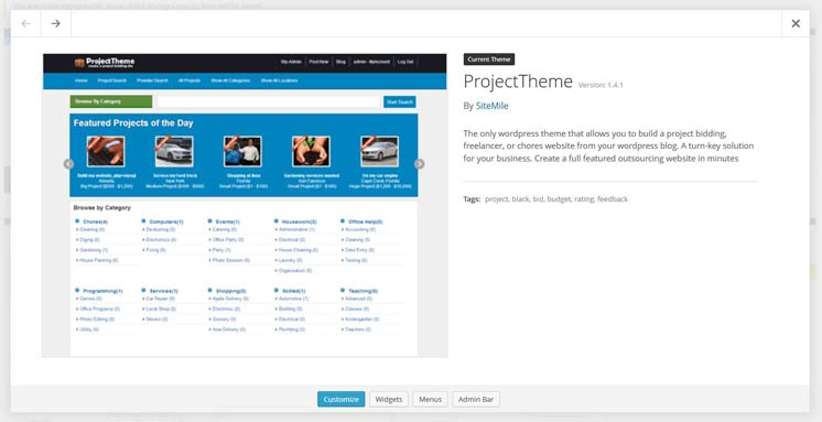 Installing freelance Project theme on WordPress