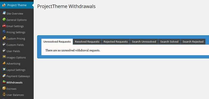 WordPress project theme withdrawals-