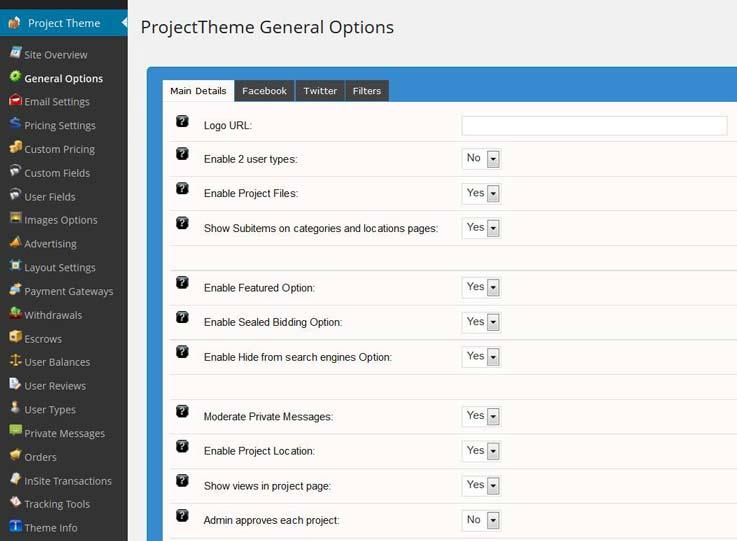 Wordpress project theme general settings 2
