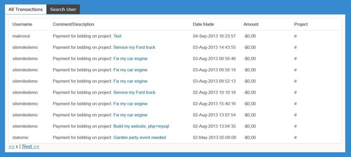 Project theme in-site transaction history
