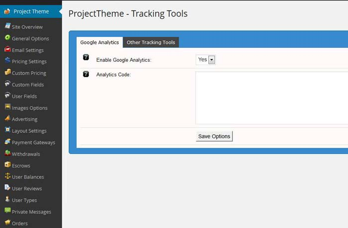 Project theme settings transactions