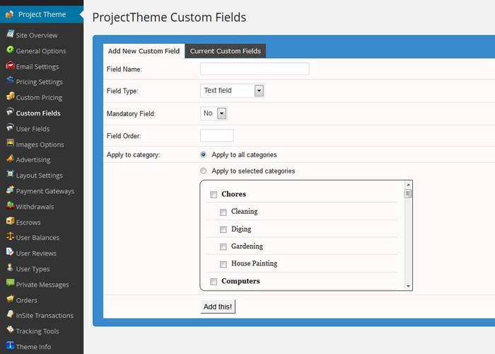 Custom field settings