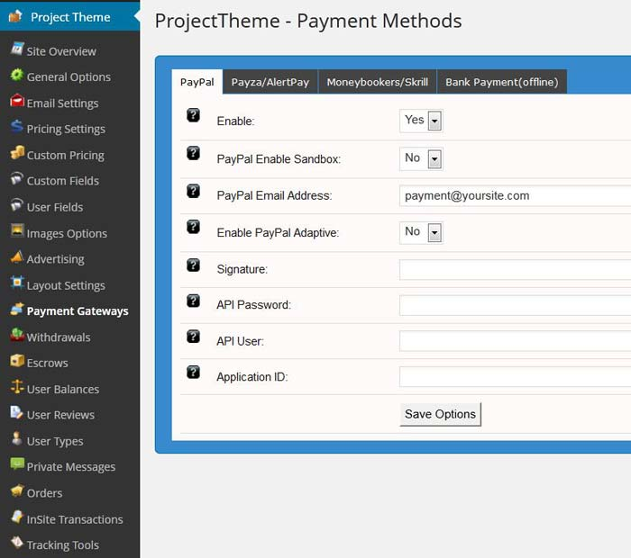 Project theme settings Paypal