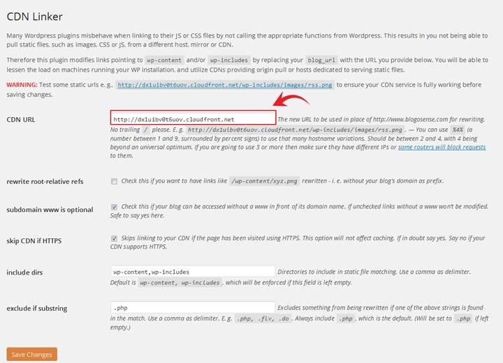 WordPress CDN linker settings