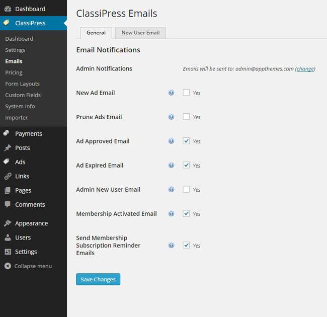 ClassiPress email screenshot
