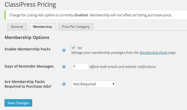 ClassiPress membership pricing