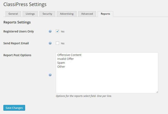 ClassiPress reports settings