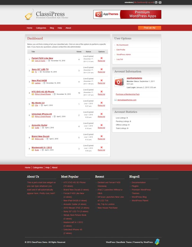 ClassiPress user dashboard