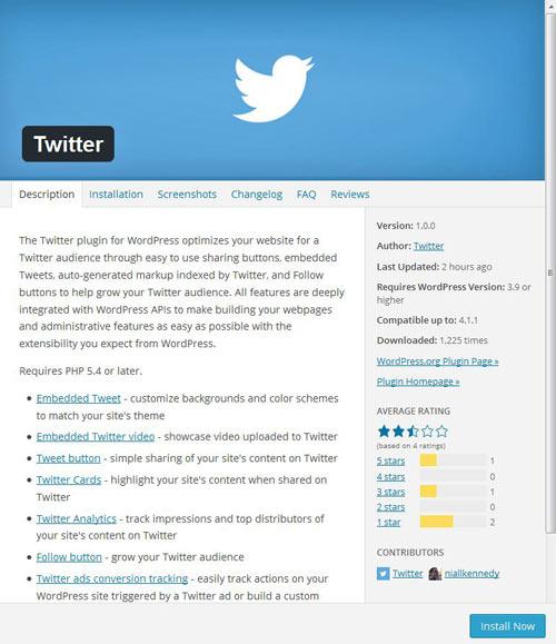 Official Twittter plugin installation for WordPress