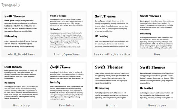 Swift theme typography set