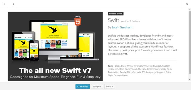 swift wordpress theme installation