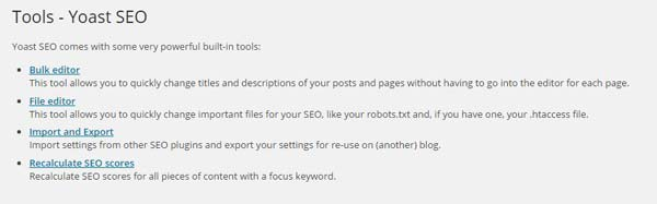 WordPress Yoast SEO tools