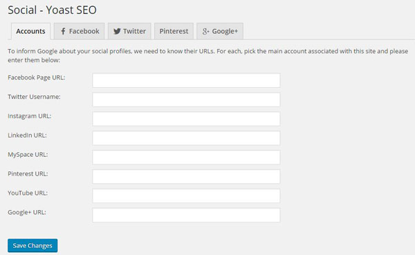 Google Yoast SEO social accounts