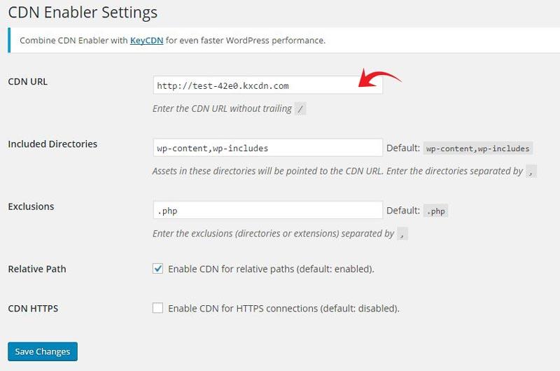 CDN enabler settings