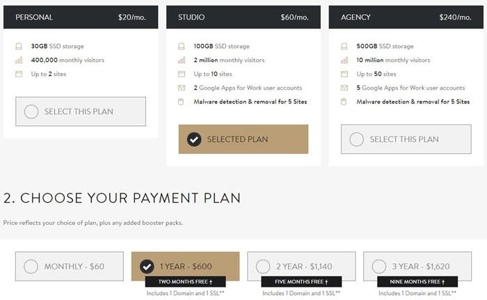 MediaTemple WordPress hosting 2016 plan comparsion