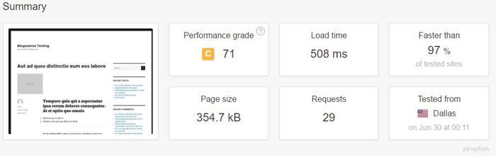 MediaTemple WordPress hosting speedtest 2