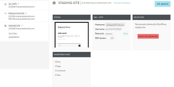 Staging site dashboard