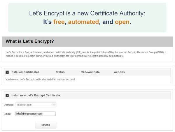 SiteGround let's encrypt free SSL certificate