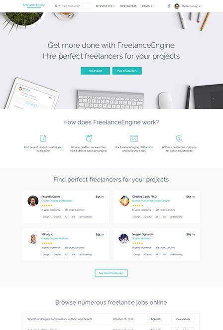 freelance engine WordPress theme review