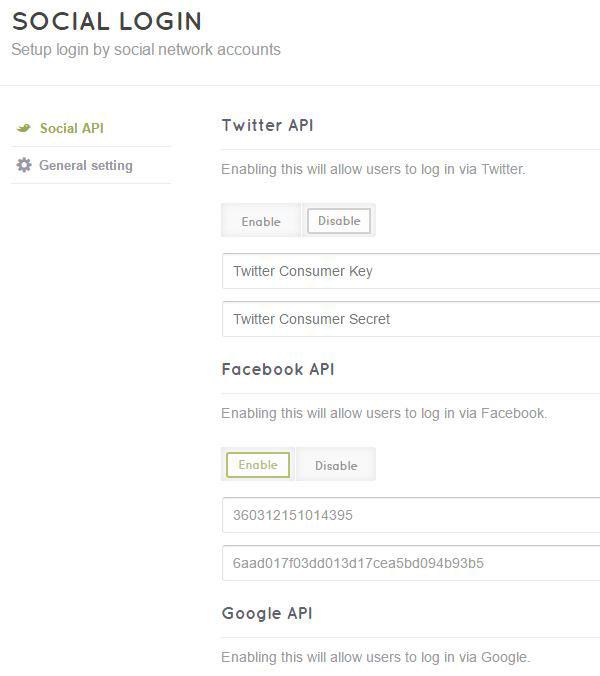 social media login freelancerEngine themes