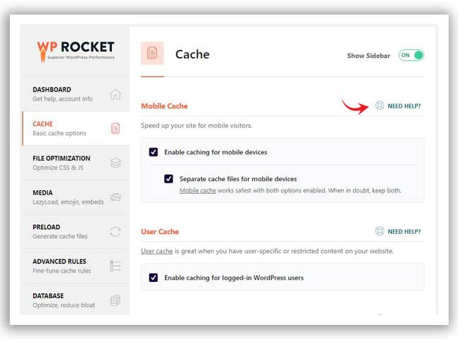 WP Rocket cache tab