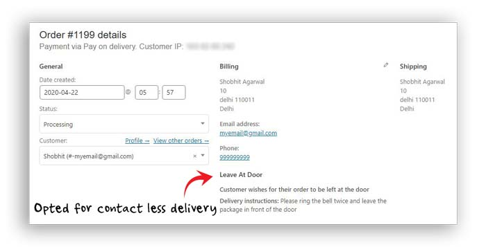 WooCommerce Contactless Delivery